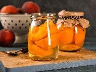 Рецепта Варен компот от праскови в буркани (зимнина)